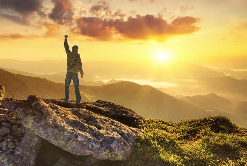 a winner on a mountain
