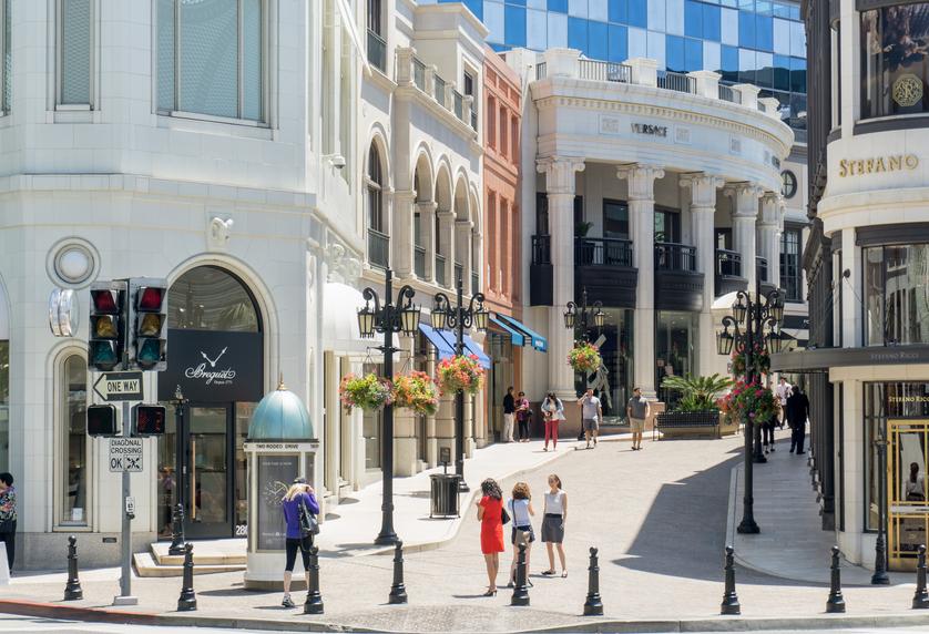 Rodeo drive shopping mall shot