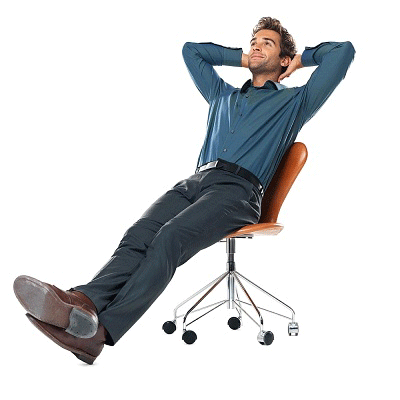 man leaning back confidently in chair
