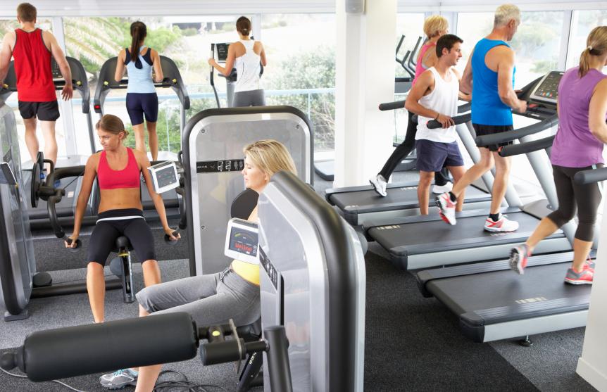 a crowded gym