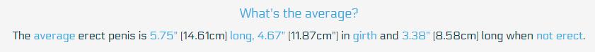 average male-unit size sizings