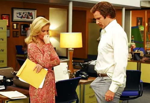 ron burgundy with an erection at his office