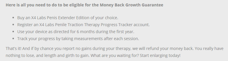 X4 Labs Money Back Guarantee Terms