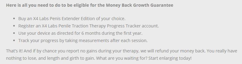 X4 Labs Money Back Guarantee Terms