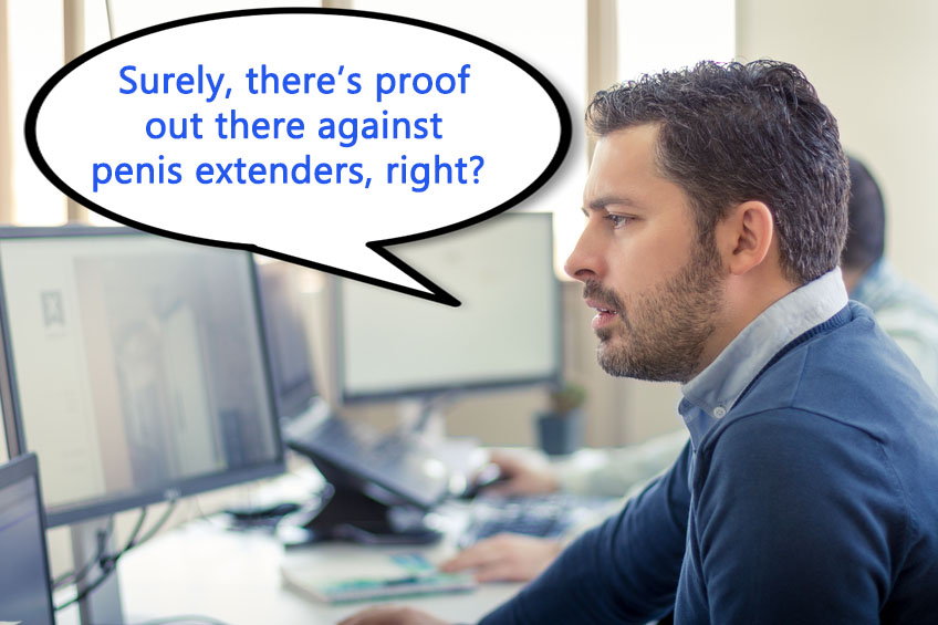 a man questioning penis extenders