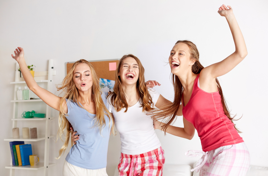 girls having fun with each other at a sleepover