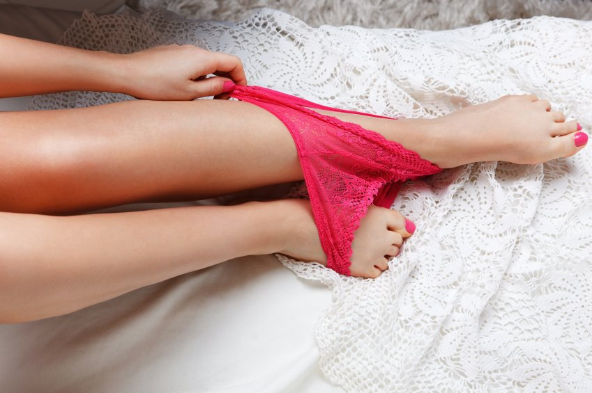 panties around a woman's ankles