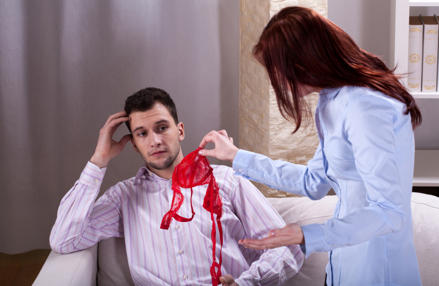 wife finds a woman's underwear near her husband and scolds him
