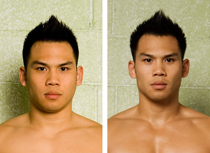 a before and after of losing body fat to look handsome