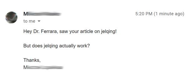 screenshot of question asking whether jelqing works or not.