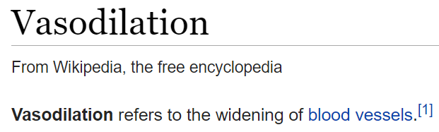 Wikipedia definition of Vasodilation