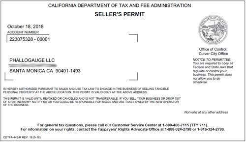 Copy of PhalloGauge LLC's California Seller's license.